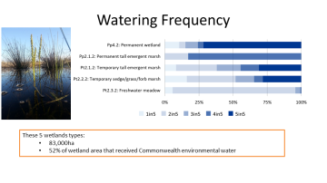 Watering frequency of palustrine wetland ecosystem types influenced by Commonwealth environmental water during the 5 years of the LTIM project 2014-2019